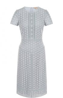 Приталенное кружевное платье с коротким рукавом Burberry