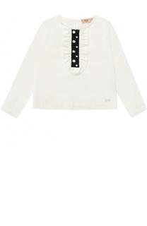Блуза из эластичного хлопка с оборкой и кристаллами No. 21