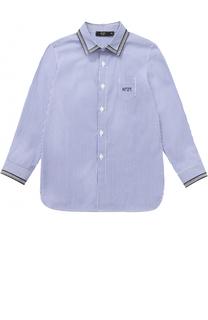 Хлопковая рубашка в полоску с контрастной окантовкой No. 21