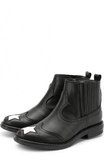 Кожаные ботинки с прострочкой и отделкой в виде звезд Simonetta