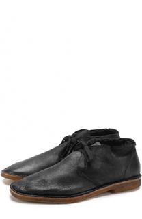 Кожаные ботинки на шнуровке с внутренней меховой отделкой Raparo