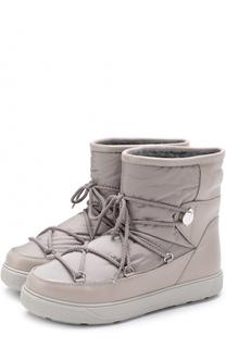 Комбинированные утепленные сапоги на шнуровке Moncler