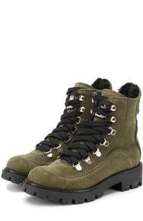 Замшевые ботинки со шнуровкой и с молнией Ermanno Scervino
