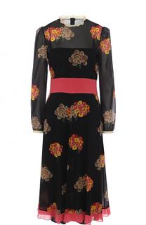 Приталенное шелковое платье с принтом REDVALENTINO