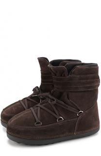 Утепленные замшевые сапоги на шнуровке с застежкой велькро Bogner
