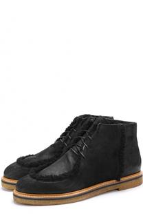 Кожаные ботинки на шнуровке с внутренней меховой отделкой O.X.S.