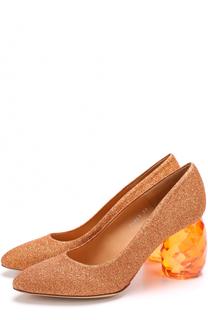 Туфли из металлизированного текстиля на декорированном каблуке Dries Van Noten