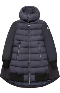 Пуховое пальто с текстильной спинкой и капюшоном Moncler Enfant