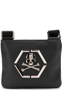 Кожаная сумка-планшет с логотипом бренда Philipp Plein