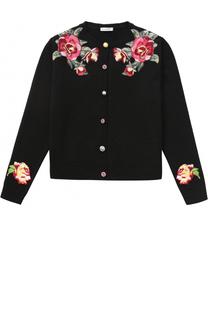Шерстяной кардиган с вышивками и декоративными пуговицами Dolce & Gabbana