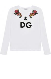 Хлопковый лонгслив с аппликациями и кристаллами Dolce & Gabbana