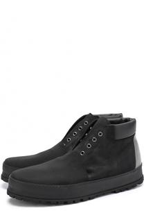 Кожаные ботинки без шнуровки с текстильной отделкой Premiata