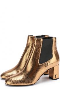Ботильоны Loulou из металлизированной кожи на устойчивом каблуке Saint Laurent
