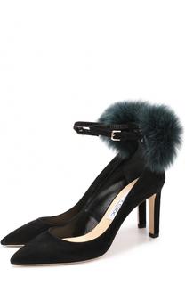 Замшевые туфли South 85 с отделкой из меха лисы Jimmy Choo