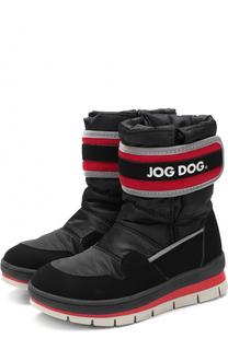 Текстильные сапоги с застежкой велькро и контрастной отделкой Jog Dog