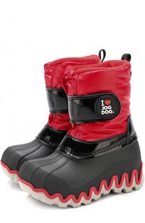 Резиновые сапоги со вставкой из текстиля и контрастной отделкой Jog Dog