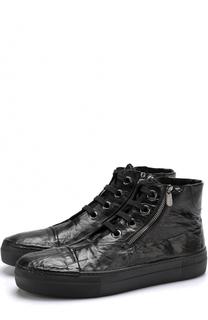 Высокие кожаные кеды на шнуровке с внутренней меховой отделкой Rocco P.