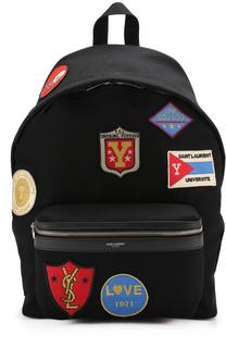 Текстильный рюкзак City с нашивками Saint Laurent