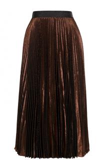 Плиссированная шелковая юбка с металлизированной отделкой Christopher Kane