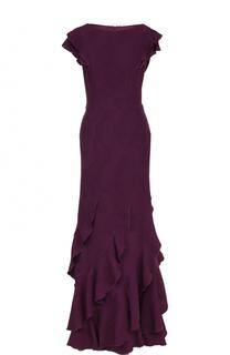 Приталенное платье-макси с оборками Tadashi Shoji