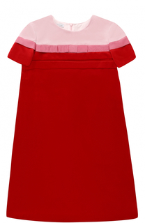 Бархатное мини-платье прямого кроя с бантом I Pinco Pallino