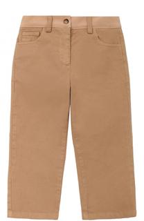 Хлопковые брюки прямого кроя с логотипом бренда No. 21