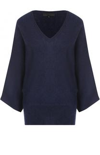 Шерстяной пуловер с укороченным рукавом и V-образным вырезом Tegin
