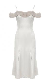 Приталенное платье-миди с отделкой из меха норки Blumarine