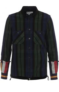 Хлопковая рубашка в полоску с контрастной отделкой Sacai