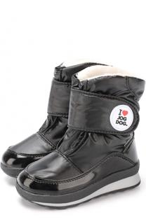Текстильные утепленные ботинки с застежками велькро Jog Dog