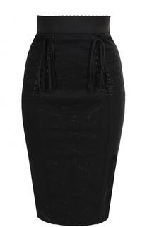 Кружевная юбка-карандаш со шнуровкой Dolce & Gabbana