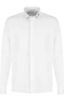 Хлопковая сорочка с вышивкой на воротнике Saint Laurent