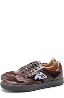 Комбинированные кеды на шнуровке с аппликацией Lanvin
