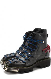 Высокие кожаные ботинки на шнуровке с декоративной отделкой Dsquared2