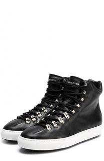 Высокие кожаные кеды на шнуровке Dsquared2