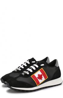 Комбинированные кроссовки на шнуровке с аппликацией Dsquared2