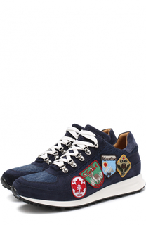 Комбинированные кроссовки на шнуровке с нашивками Dsquared2