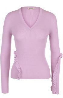 Шерстяной пуловер фактурной вязки с оборками Nina Ricci