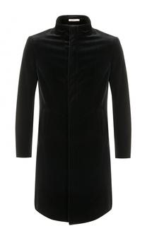 Пальто прямого кроя из смеси хлопка и вискозы с воротником-стойкой Armani Collezioni