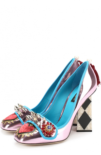 Туфли Jackie из металлизированной кожи с декоративной отделкой Dolce & Gabbana