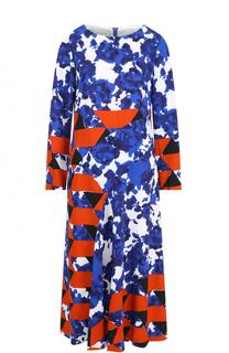 Платье-миди с длинным рукавом и принтом Dries Van Noten