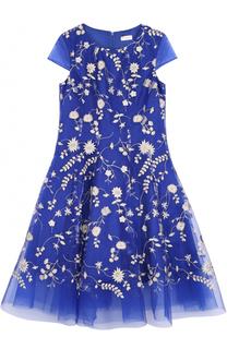 Многослойное макси-платье с цветочной вышивкой David Charles
