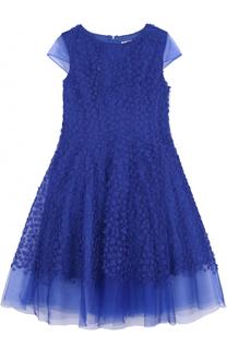 Многослойное макси-платье с цветочной отделкой David Charles