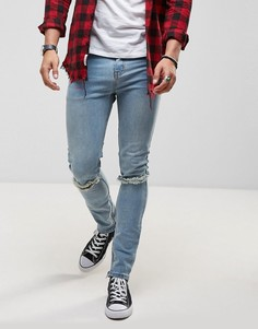 Выбеленные зауженные джинсы с разрезами на коленях Roadies of 66 Vintage - Синий