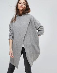 Кардиган с добавлением шерсти и драпировкой Noisy May - Серый