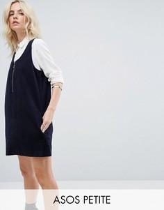Темно-синее вельветовое платье с молнией ASOS PETITE - Синий