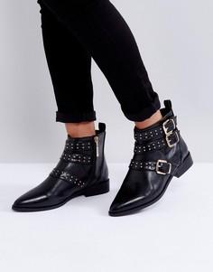 Ботинки с заклепками и пряжками Miss KG - Черный