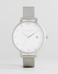 Часы с сетчатым ремешком и большим циферблатом Olivia Burton - Серебряный