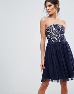 Платье-бандо для выпускного с кружевным лифом Little Mistress - Темно-синий