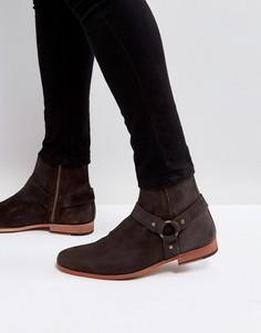 Коричневые кожаные ботинки челси с металлическими пряжками ASOS - Коричневый